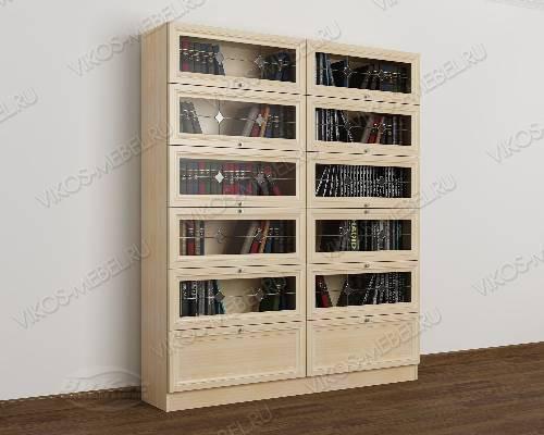 Двухстворчатый книжный шкаф со стеклянными дверцами библиотека c витражным стеклом цвета молочный беленый дуб