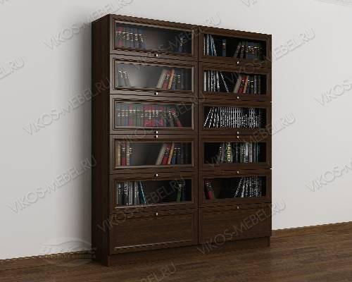 Двухстворчатый книжный шкаф со стеклянными дверцами библиотека цвета венге