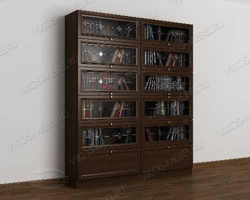 Двухстворчатый книжный шкаф со стеклянными дверцами библиотека c витражным стеклом цвета венге