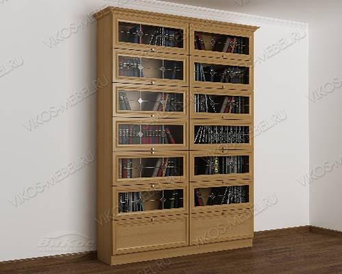 Двухдверный книжный шкаф библиотека с витражом цвета бук