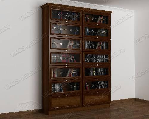 Двухдверный книжный шкаф библиотека c витражным стеклом цвета яблоня