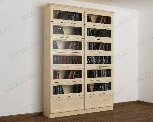 Двухдверный книжный шкаф библиотека цвета молочный беленый дуб