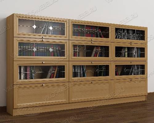 Трехдверный шкаф для книг библиотека c витражным стеклом цвета бук
