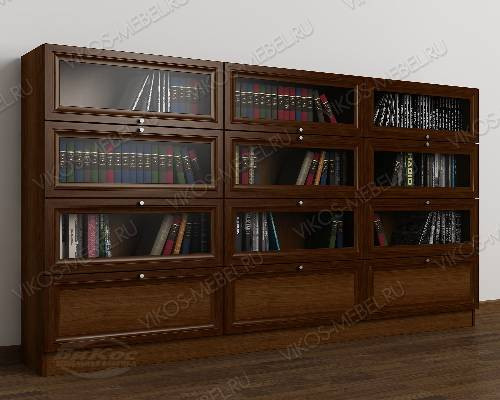 Трехдверный шкаф для книг библиотека цвета яблоня