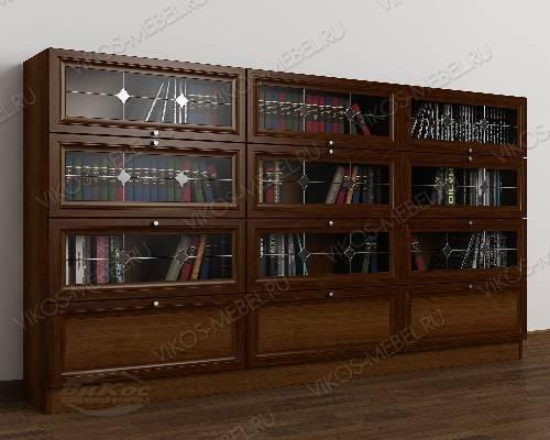 Трехдверный витражный шкаф для книг библиотека цвета яблоня