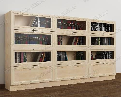 Трехдверный шкаф для книг библиотека цвета молочный беленый дуб