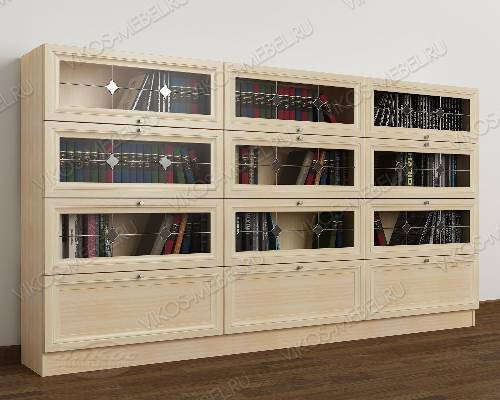 Трехдверный шкаф для книг библиотека с витражом цвета молочный беленый дуб