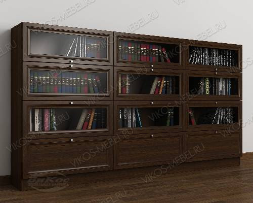 Трехдверный шкаф для книг библиотека цвета венге