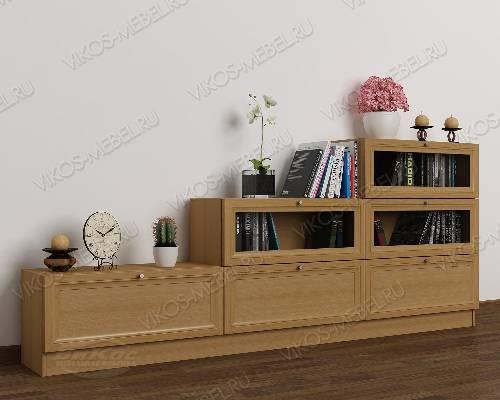 Широкий книжный шкаф со стеклом горка цвета бук