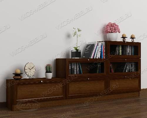 Широкий книжный шкаф со стеклом горка цвета яблоня