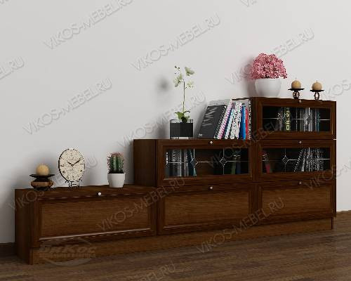 Широкий книжный шкаф со стеклом горка с витражом цвета яблоня