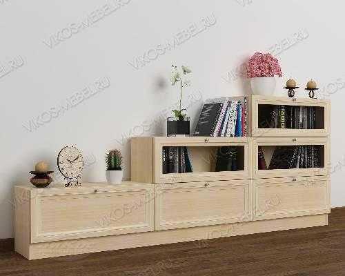 Широкий книжный шкаф со стеклом горка цвета молочный беленый дуб