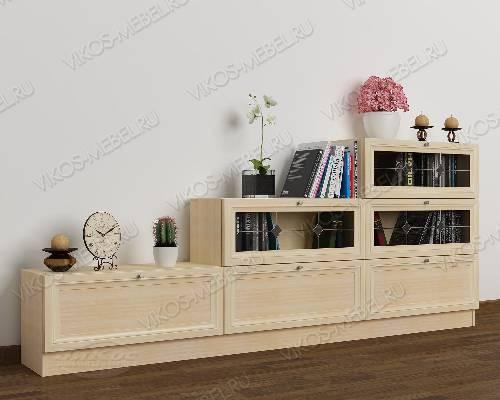 Широкий книжный шкаф со стеклом горка c витражным стеклом цвета молочный беленый дуб
