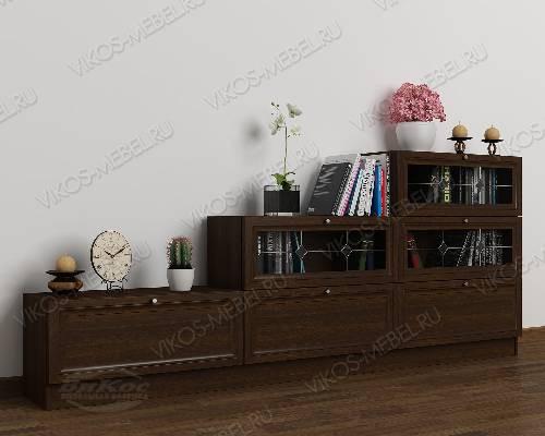 Широкий книжный шкаф со стеклом горка c витражным стеклом цвета венге
