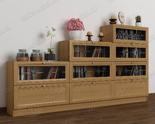 Большой книжный шкаф со стеклянными дверями горка с витражом цвета бук