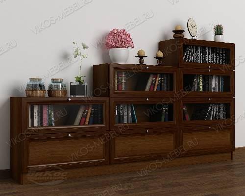 Большой книжный шкаф со стеклянными дверями горка цвета яблоня