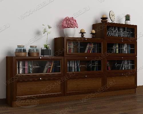 Большой книжный шкаф со стеклянными дверями горка c витражным стеклом цвета яблоня