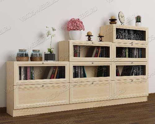 Большой книжный шкаф со стеклянными дверями горка цвета молочный беленый дуб