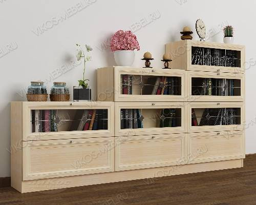 Большой витражный книжный шкаф со стеклянными дверями горка цвета молочный беленый дуб