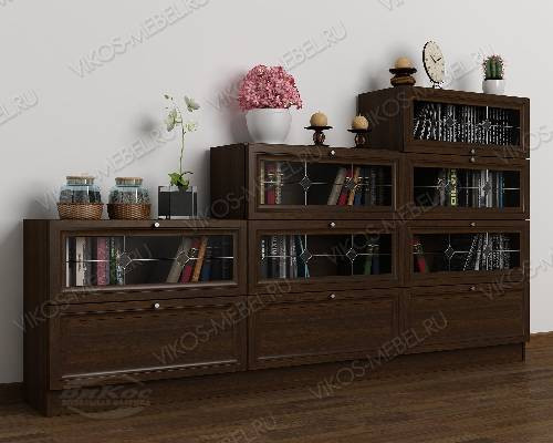 Большой витражный книжный шкаф со стеклянными дверями горка цвета венге