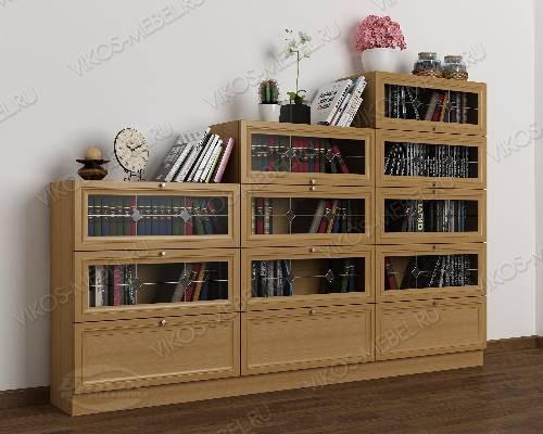 Книжный шкаф со стеклянными дверцами горка c витражным стеклом шириной 120-135 см цвета бук