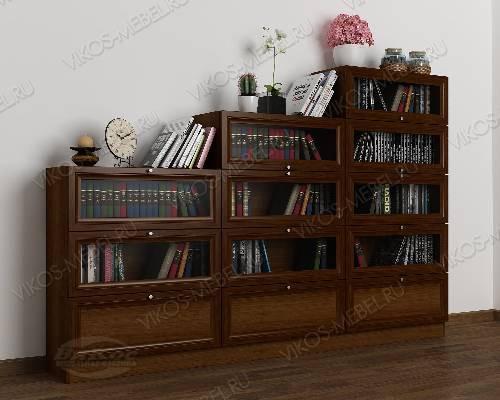 Книжный шкаф со стеклянными дверцами горка шириной 120-135 см цвета яблоня