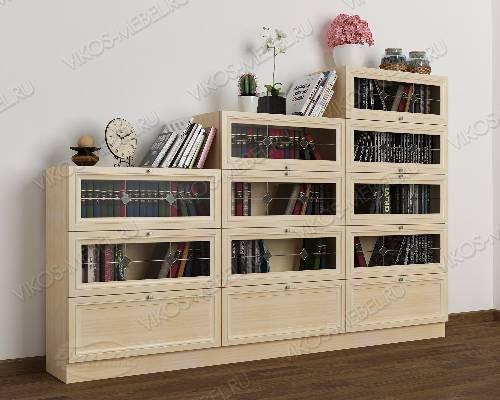 Книжный шкаф со стеклянными дверцами горка с витражом шириной 120-135 см цвета молочный беленый дуб