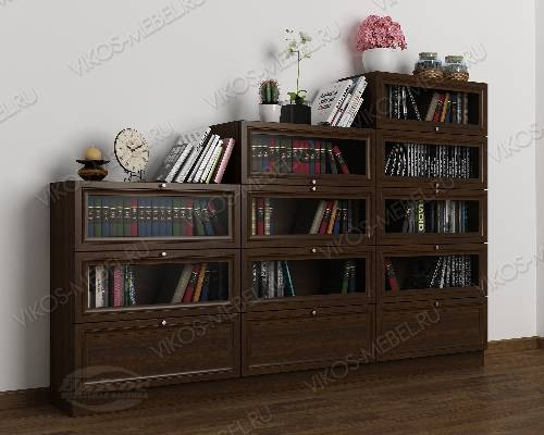 Книжный шкаф со стеклянными дверцами горка шириной 120-135 см цвета венге