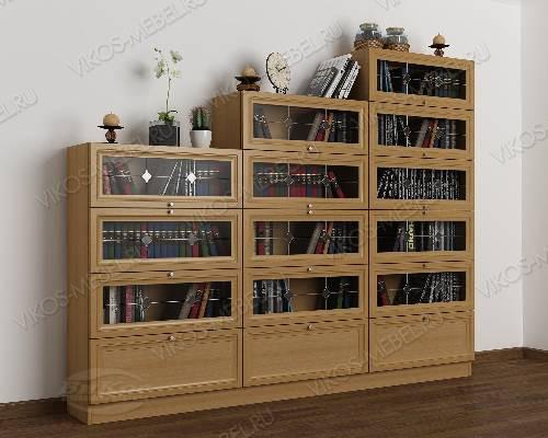 3-створчатый витражный книжный шкаф горка цвета бук