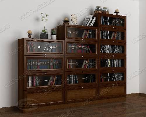 3-створчатый книжный шкаф горка с витражом цвета яблоня