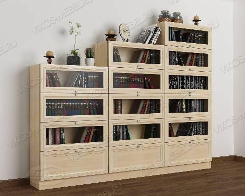 3-створчатый книжный шкаф горка цвета молочный беленый дуб