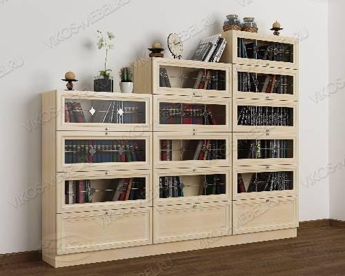 3-створчатый книжный шкаф горка c витражным стеклом цвета молочный беленый дуб