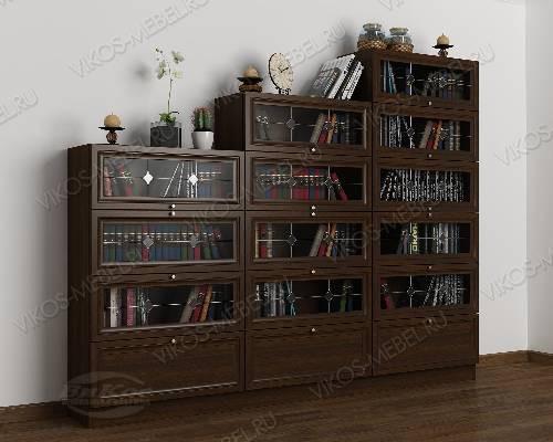 3-створчатый книжный шкаф горка c витражным стеклом цвета венге