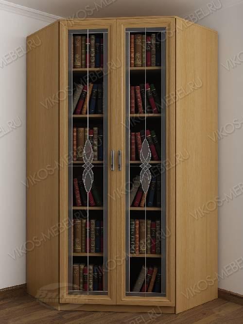 Угловой угловой шкаф для книг с витражом шириной 80-90 см цвета бук