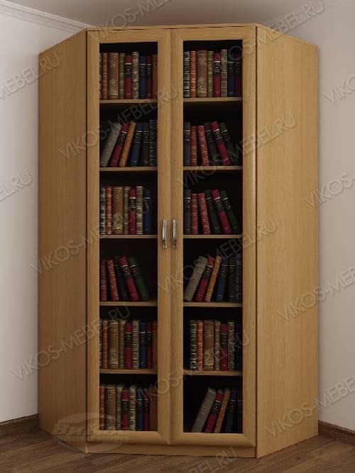 Угловой угловой шкаф для книг шириной 80-90 см цвета бук