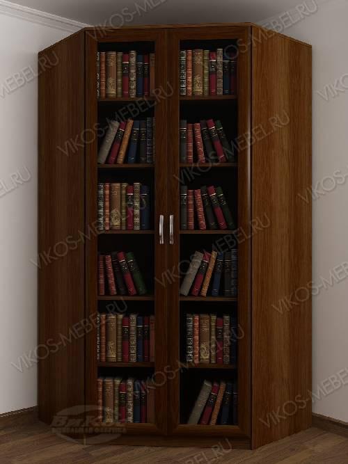 Угловой угловой шкаф для книг шириной 80-90 см цвета яблоня