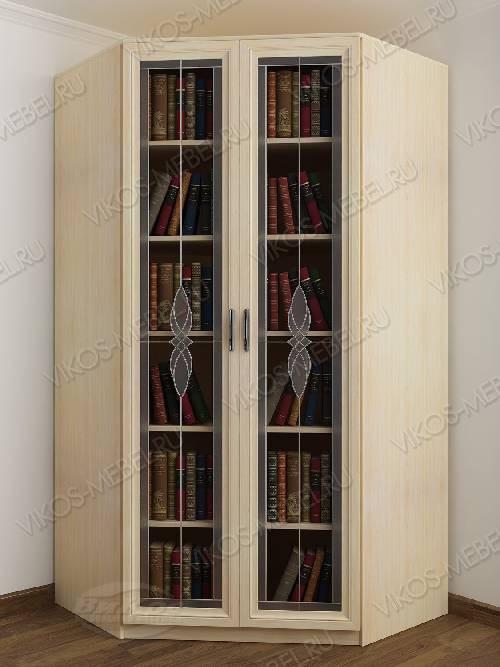 Витражный угловой угловой шкаф для книг шириной 80-90 см цвета молочный беленый дуб