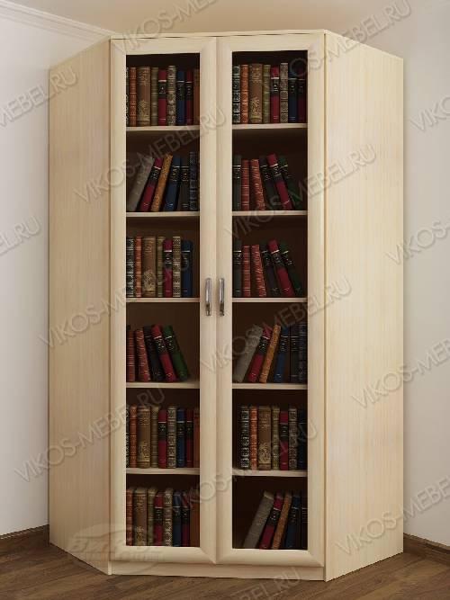 Угловой угловой шкаф для книг шириной 80-90 см цвета молочный беленый дуб