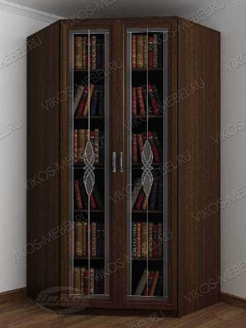 Витражный угловой угловой шкаф для книг шириной 80-90 см цвета венге