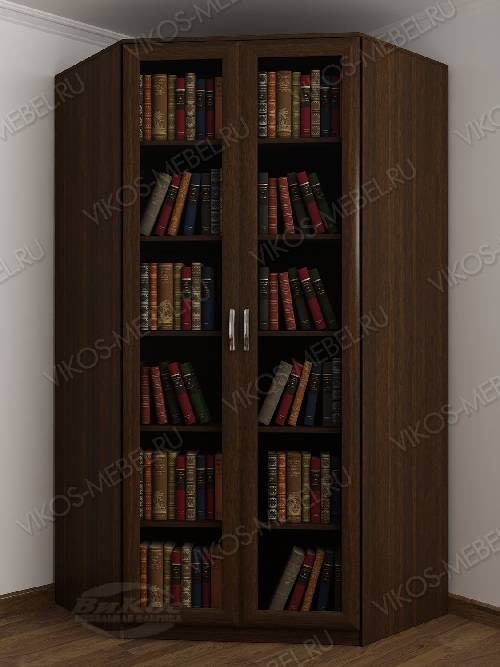 Угловой угловой шкаф для книг шириной 80-90 см цвета венге