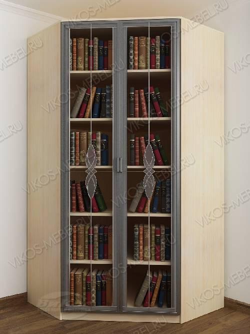 Угловой угловой шкаф для книг c витражным стеклом шириной 80-90 см цвета беленый дуб - венге