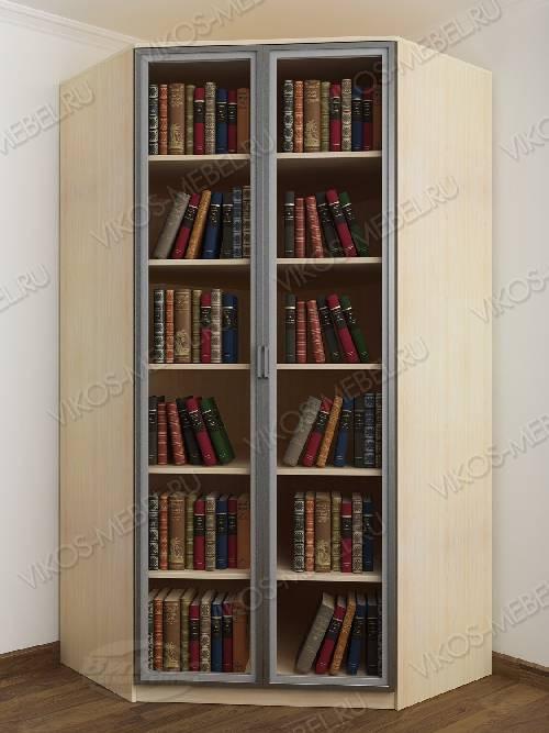 Угловой угловой шкаф для книг шириной 80-90 см цвета беленый дуб - венге