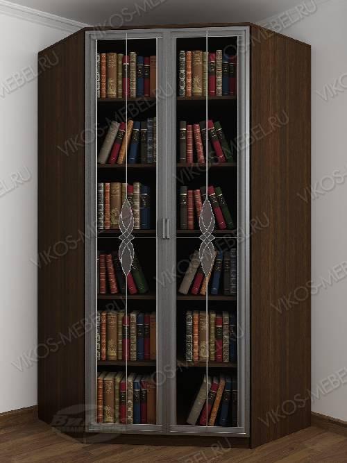 Угловой угловой шкаф для книг с витражом шириной 80-90 см цвета венге - молочный дуб