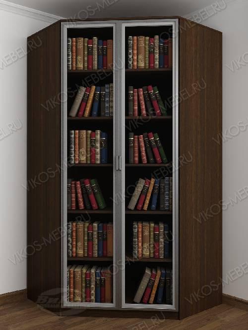 Угловой угловой шкаф для книг шириной 80-90 см цвета венге - молочный дуб
