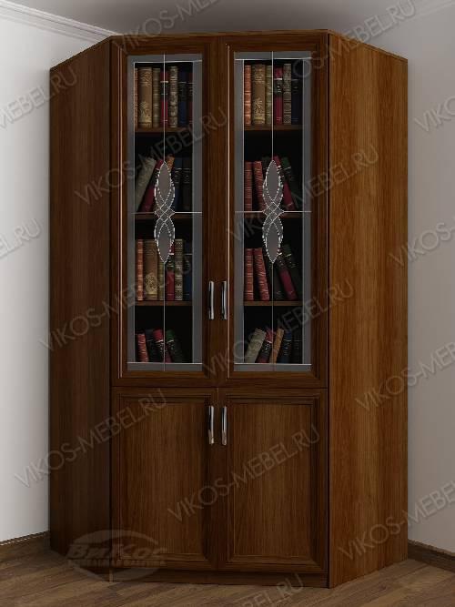 2-створчатый угловой шкаф угловой c витражным стеклом для книг цвета яблоня