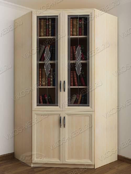 Витражный 2-створчатый угловой шкаф угловой для книг цвета молочный беленый дуб