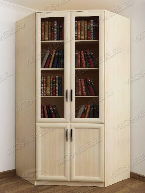2-створчатый угловой шкаф угловой для книг цвета молочный беленый дуб