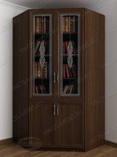 Витражный 2-створчатый угловой шкаф угловой для книг цвета венге
