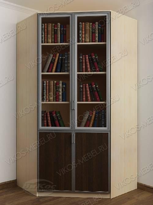 2-створчатый угловой шкаф угловой для книг цвета беленый дуб - венге