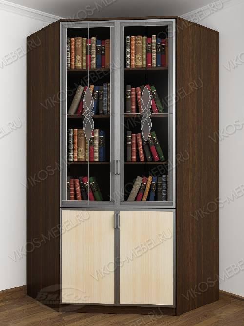 2-створчатый угловой шкаф угловой с витражом для книг цвета венге - молочный дуб
